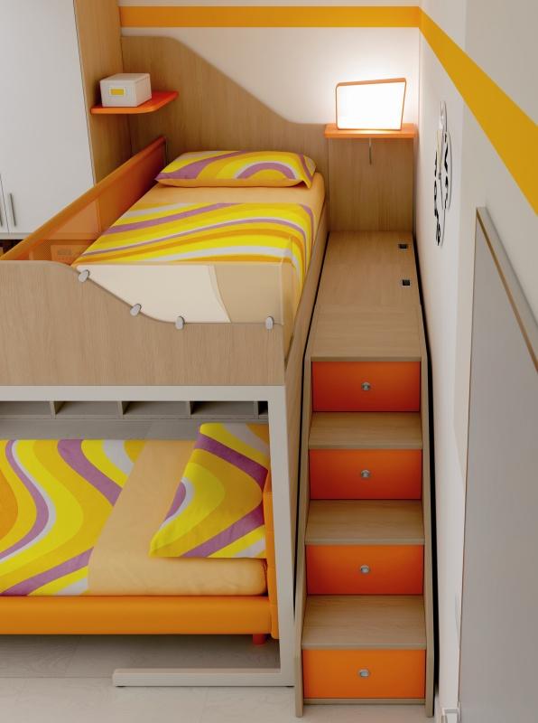Escalier lit supérieur enfant avec tiroirs de rangements